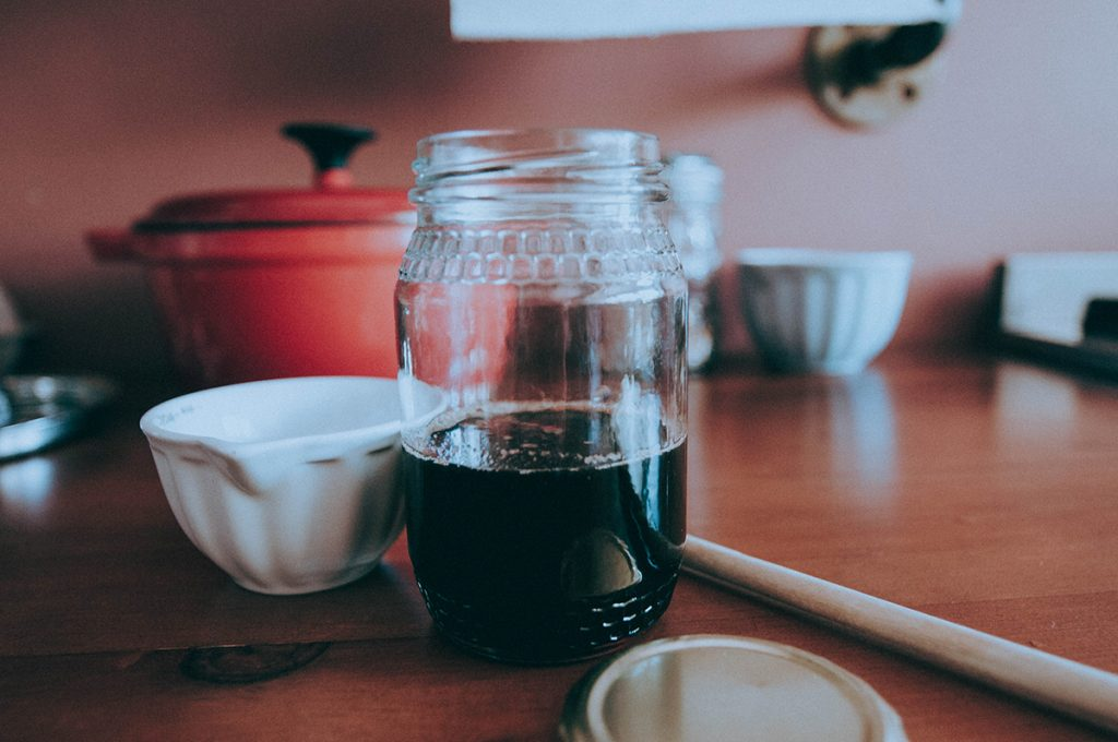 Simple syrup in a jar