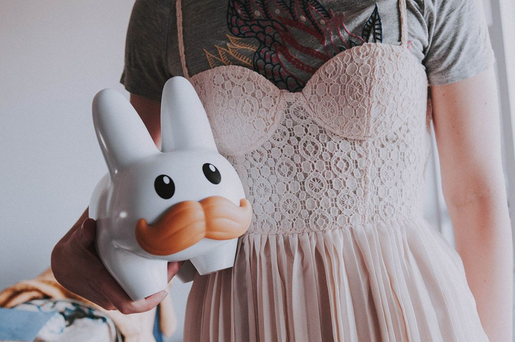 Wearing a cute dress over my dragon t-shirt.